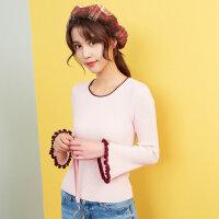 【2件2.5折到手价:48.75】美特斯邦威甜美毛衣女喇叭袖针织衫春装新款韩版长袖毛衫潮