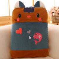 可爱卡通背包款抱枕被空调被法兰绒汽车靠垫枕头创意礼品毛绒礼物 纯色毯子110.160cm