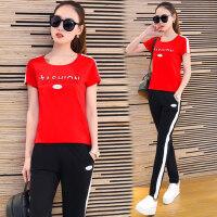 女装韩版休闲时尚修身短袖长裤两件套运动服套装女