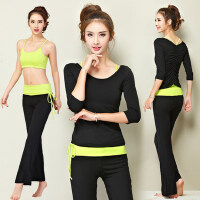 新款短袖瑜珈服三件套女士跑步健身舞蹈瑜伽服 愈伽服套装女吊带胸衣T恤长裤