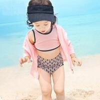 儿童泳衣分体女孩小童泳装女宝宝小孩防晒游泳衣四件套