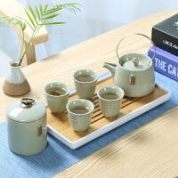 陶瓷茶杯茶壶旅行便携包哥窑功夫茶具套装家用小日式简约干泡茶盘 米黄一壶四杯+茶叶罐+茶盘 密胺白