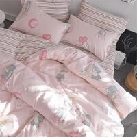 ins纯棉床上用品四件套公主风1.5m全棉床单人被套学生宿舍三4件套 象宝宝Y 双面纯棉 床笠款(被套2.0x2.3m
