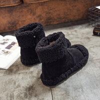 雪地靴女2017新款羊卷毛毛鞋保暖加绒棉鞋女冬季平底短靴子潮女鞋