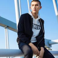 【2件2.5折到手价:142.25,4月10日0点】MECITY男装春季黑色棒球领运动潮流夹克外套韩版