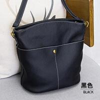 水桶包女新款潮韩版时尚简约百搭头层牛皮女包单肩斜挎包 黑色