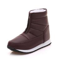 2018冬季新款保暖男女中老年妈妈雪地靴平底短靴防水老人棉鞋