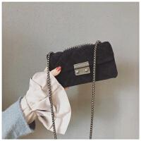 小香风包包女新款韩版百搭单肩斜挎包丝绒菱格链条小方包 黑色