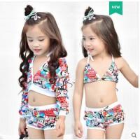 新款�和�泳衣女孩分�w比基尼������小中大童�n��平角��L袖女童泳�b