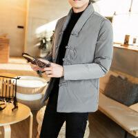 №【2019新款】冬天胖子穿的中国风加厚棉衣男短款刺绣外套 中式复古盘扣男唐装棉袄