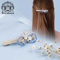 皇家莎莎顶夹头饰仿水晶蝴蝶花朵发饰品韩国发夹发卡子马尾