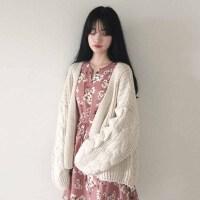 韩版学院风2018秋春新款宽松加厚麻花针织长袖开衫毛衣外套女 均码