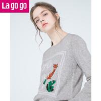 【清仓3折价79.8】Lagogo/拉谷谷2019冬季新款直筒圆领长袖针织衫GCMM41ZA12
