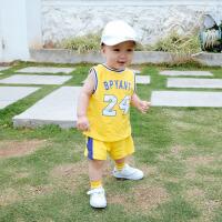 婴儿衣服6-个月男宝宝夏季运动服套装纯棉背心短裤两件套潮