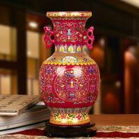景德镇陶瓷器 高档水晶釉玫瑰红双耳缠枝莲花瓶 现代中式家居摆件