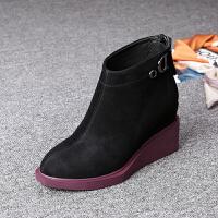 2018秋冬季新款女鞋 翻毛皮坡跟厚底尖头漆皮小短靴高跟女靴子hgl 黑色 绒面