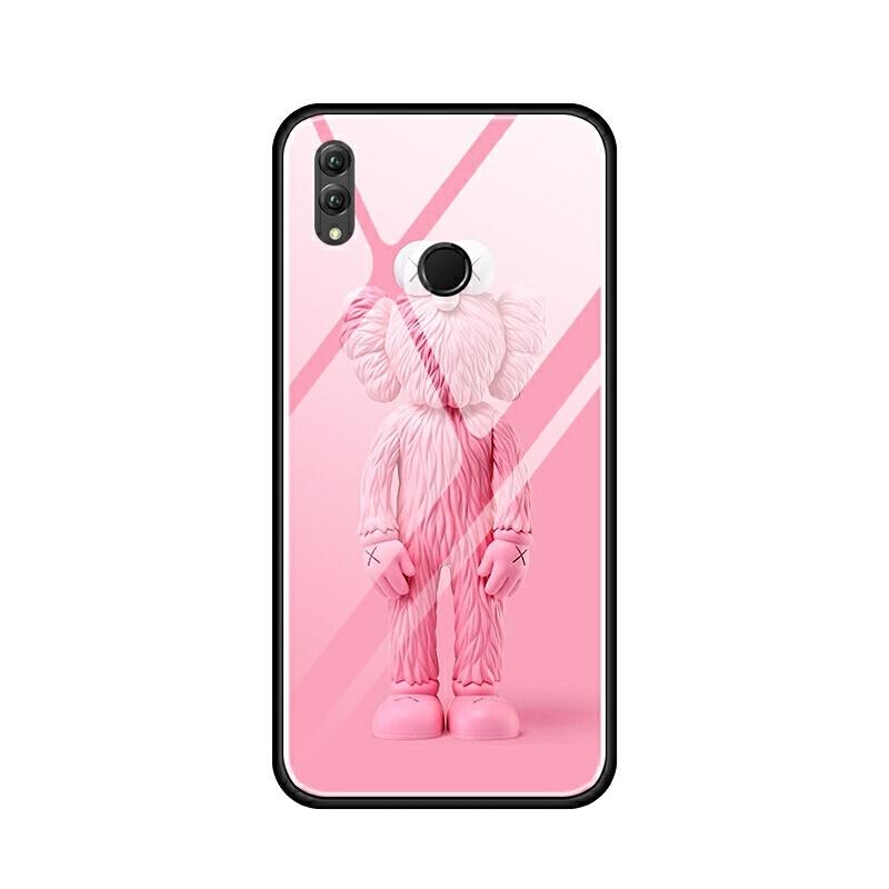 华为nova3i荣耀note10 8x max手机壳玻璃套软 卡通芝麻街粉红色