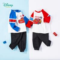 迪士尼Disney童装 男童套装圆领肩开纯棉长袖上衣针织仿牛仔长裤2件套春季新品中小童衣服