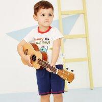 moomoo童装男幼童套装夏季新款小宝宝儿童短袖短裤撞色两件套