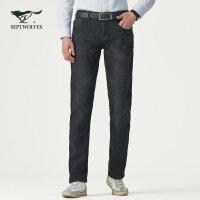 七匹狼牛仔裤商务休闲男士时尚合体加绒牛仔长裤正品男装