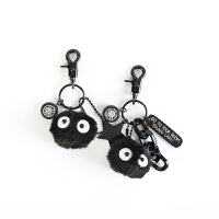 宫崎骏钥匙扣挂件千与千寻日本卡通毛绒小煤球黑碳精灵包包挂饰品