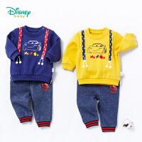 迪士尼Disney童装男童运动套装春秋新款小孩衣服宝宝外出抓绒长袖卫衣裤子2件套183T841
