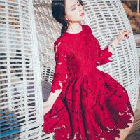 2018春季新款小礼服蕾丝修身中袖时尚连衣裙女气质显瘦名媛蓬蓬裙