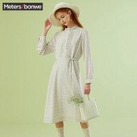 美特斯邦威连衣裙春秋2020款女新款潮流女装简约收腰甜美洋气裙子