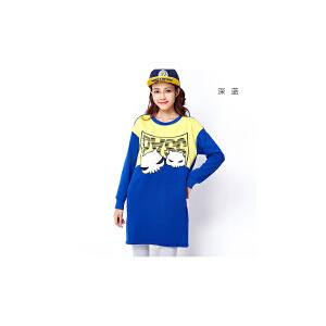 【不退不换】PASS冬季新款套头长袖卫衣款直筒连衣裙印花宽松印花潮中裙