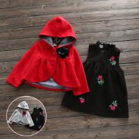 女童套装秋冬新款童装花朵刺绣背心裙羊毛披肩套装儿童毛呢