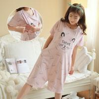 夏长款大码哺乳睡裙短袖月子服裤裙睡衣喂奶连衣裙夏孕妇睡裙女