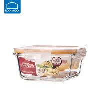 乐扣乐扣耐热玻璃饭盒保鲜盒便当盒密封碗大容量微波炉烤箱可用 500ml【正方形】