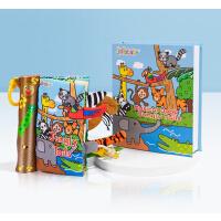 【全店300减100】英文原版 Musical Book Jungly Tails 音乐布书丛林动物尾巴 婴儿撕不烂6-