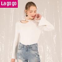 【618大促-每满100减50】Lagogo拉谷谷2018春新款时尚镂空设计上衣开叉喇叭袖针织衫女甜美