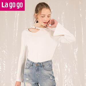 Lagogo拉谷谷2018春新款时尚镂空设计上衣开叉喇叭袖针织衫女甜美