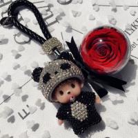 20180331170108109蒙奇奇永生花钥匙扣女韩国可爱包包挂件汽车钥匙链情侣创意礼品盒