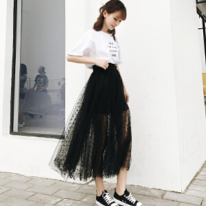 欧若珂  2018夏季新款韩版波点网纱中长款半身裙内衬是短裤