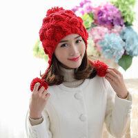 韩版保暖帽子女编织毛线帽 韩国针织毛线帽女潮 休闲百搭时尚套头帽