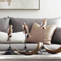 家居装饰品摆件创意客厅酒柜摆设树脂工艺品美式复古北欧树脂小鸟小鹦鹉摆件