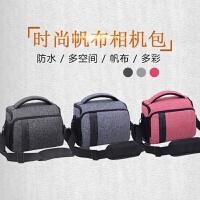 佳能相机包单反帆布便携水200D800D700D80D70D尼康D7200等通用 小号 浅灰色+肩带+腰带