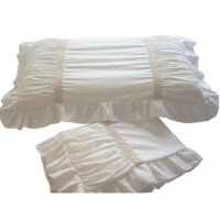 ???全棉公主款褶皱款花边单人枕套48*74本白乳白色 一对 乳白色 48cmX74cm