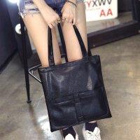 手提包 女包学生单肩包PU软皮大包包女简约休闲韩国手提包 黑色