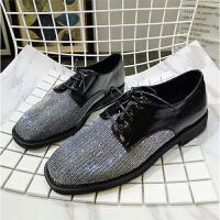 2018韩版新款方头系带亮片低帮鞋休闲鞋单鞋平底鞋布洛克女鞋潮鞋