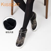 接吻猫冬季铆钉短靴女毛绒保暖加厚雪地棉靴DA76708-52