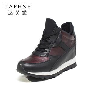 Daphne/达芙妮 秋款时尚系带拼色皮质坡跟内增高单鞋女