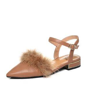 Tata/他她2018春专柜同款牛皮毛绒尖头一字带女凉鞋FEA06AK8