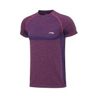 李宁(LI-NING)羽毛球服系列男子吸汗修身型比赛上衣