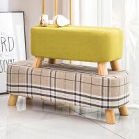 家用小凳子成人布艺换鞋凳客厅沙发凳方凳时尚创意实木脚矮凳板凳