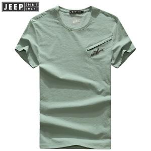 2018夏装新款吉普JEEP圆领宽松休闲polo衫 704049男士T恤衫纯色潮