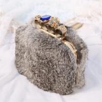欧美秋冬时尚新款兔毛毛手拿包女名媛晚宴包宴会链条小女手包 灰色
